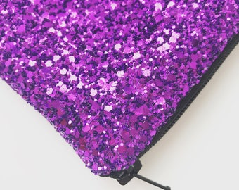 Purple evening bag, Purple glitter bag make up clutch bag, Glitter clutch bag, evening clutch bag, wedding clutch bag, prom clutch bag