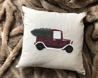 Vintage Truck Christmas Tree Pillow Cover - FREE SHIPPING - Hand Painted