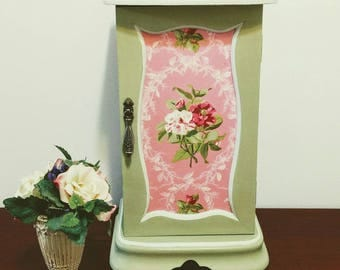 Upcycled Hand painted Jewelry Box done in Annie Sloan Versailles and trimmed in General Finishes Chapin Grey and clear waxed