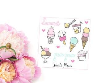 Planner stickers: pastel ice cream deco   Perfect for your filofax / erin condren planner etc