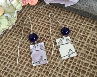 Three Little Birds Thread Earrings