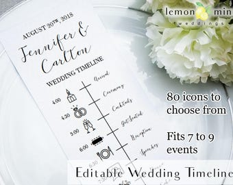 Editable wedding timeline card, printable wedding timeline with icons, customizable wedding day timeline, PDF wedding timeline template