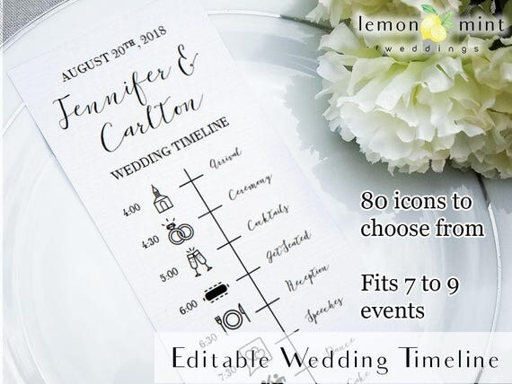 editable wedding timeline card printable wedding timeline