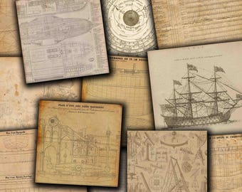 """Old digital papers: """"OLD SHIPS DIAGRAM"""" Frigate poster, sailboat decor, sailing decor, vintage papers, old papers"""