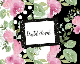 Digital Paper, Fashion Florals, Pink Peony Paper, Watercolor Paper, Wedding Design Paper. No. WC.PM101