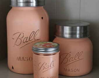 Peach Mason Jar Kitchen Canisters - Coral Kitchen - Mason Jar Wedding - Mason Jar Vases - Shabby Chic Kitchen - Bridal Shower Gift