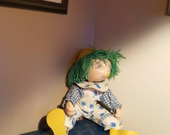 Antique clown stick puppet /collectible toys/puppet on wooden stick/marionette/vintage puppet/