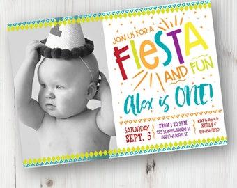 Birthday Fiesta Photo Invitation, First Fiesta Birthday Invitation, Fiesta Birthday Invitation, First Fiesta, Personalized, DIY Invite