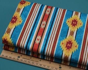 2 Yards Timeless Treasures Fabrics Turquoise Southwest Cabin Stripe NEW