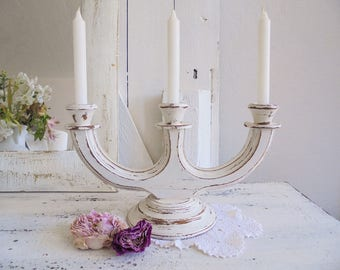Shabby Chic candle holder 3 arm-candle holder antique white wood vintage
