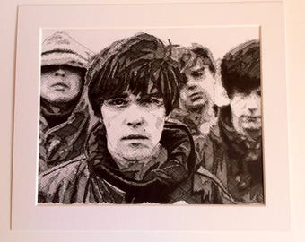 The Stone Roses - original hand drawn ink artwork.