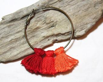 Earrings * tassels * red and orange