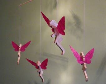 Mobile 4 fairies in wood and paper craft fuchsia waxed