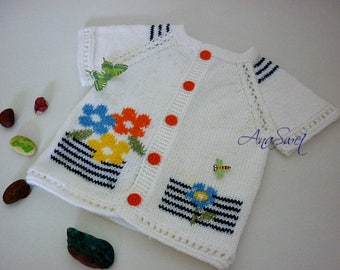 Hand knit baby vest Summer flowers.White cardigan with short sleeves.