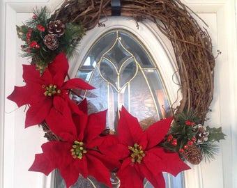 Christmas Front Door Wreath, Rustic Holiday Wreath, Front Door Wreath, Poinsettia Grapevine Wreath