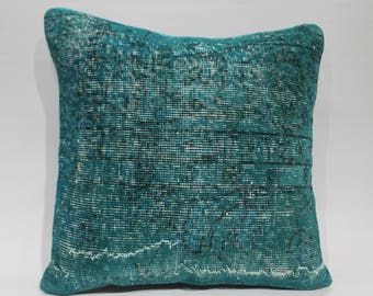 Vintage overdyed Turkish ruf cushion cover 20x20  mint green turquoise color special pillow floor cushion cover big pillow large pillow 1489