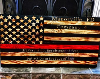 Thin Red Line American Flag | Firehouse | Firefighter | USA Map | Charred Flag | Handpainted | Wall Decor | 22x40