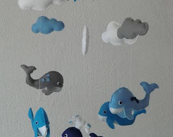 baby mobile, whale,  Baby Crib Mobile - Nursery Crib Mobile - Nursery Decor -Baby