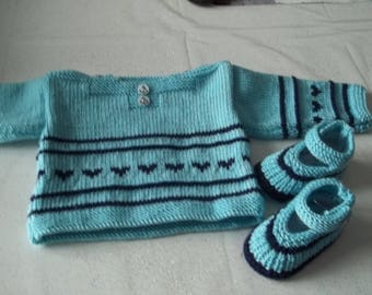 set top + baby shoes 0/3 months - handmade knit-