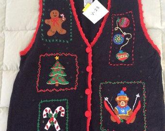 Black Ugly Christmas Sweater Vest - XL (V-23)