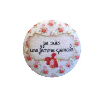 x 1 38mm fabric button I am awesome BOUT16