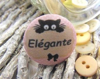 1 button x 19mm ti fabric ' elegant cat BOUT4