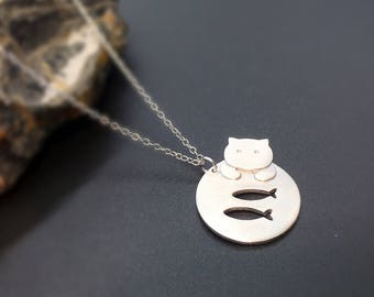 Sterling silver cat necklace, silver kitty necklace,  silver cat charm