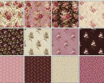 Savannah - (22) Fat Quarter Bundle - Washington Street Studio - by Sara Morgan - pink, floral, brown, blenders, by Sara Morgan