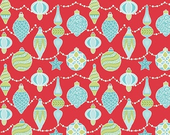 Sparkle - Per Yard - Contempo by Benartex - by Amanda Murphy - Ornaments on Red