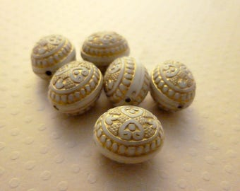 Set of 6 oval beads acrylic ivory/gold 16x13mm - PAGE 0616
