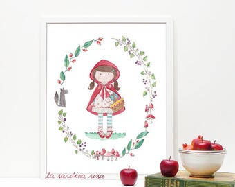Little red riding hood print, fairy tales nursery wall art, princess print, watercolor art print