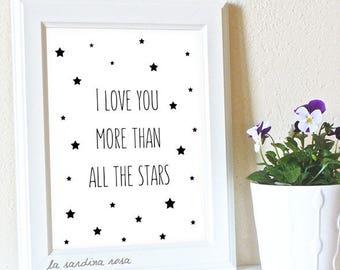 Baby room wall art, Printable star decor Scandinavian nursery, Black and white Nursery printable wall art, I love you more print #0033N
