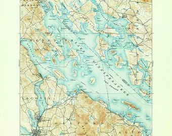 1909 Map of Lake Winnipesaukee New Hampshire