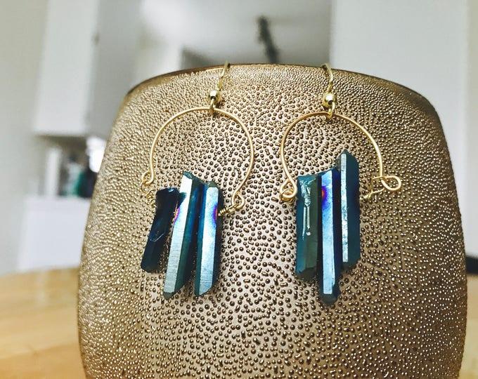 Crystal Harp Hoops - Blue Aura Quartz Drop Loupe Statement Earrings