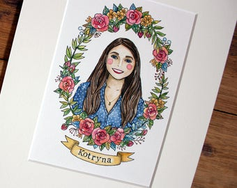 Custom portrait, Custom illustration, Cute portrait, Gift for her, Mounted portrait illustration, Original illustration, Mini portrait.