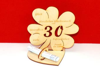 Cloverleaf for 30 or 35 birthdays or wedding day with congratulations and bank note holder