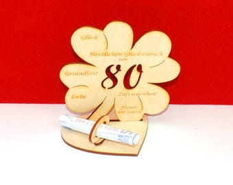 Cloverleaf for 80 or 85 birthdays or wedding day with congratulations and bank note holder