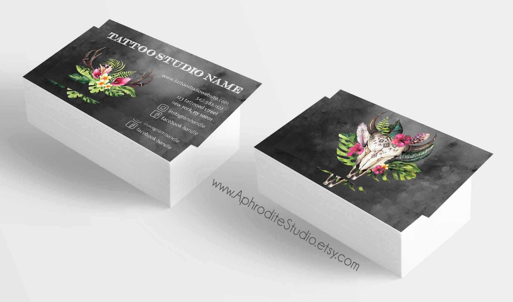 Tattoo business cards - Skull business cards - Printable business ...