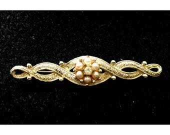 Vintage Signed Emmons Bar Pin/Brooch-Goldtone W/Faux Pearls
