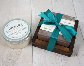 Coconut Paradise Soap With Wooden Dish and Body Butter Set
