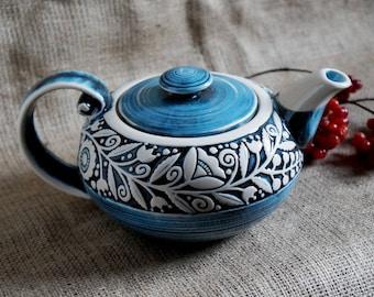 Sister gift ,Farmhouse decor, Large pottery teapot, Family gift, Wedding gift ideas , New|house|gift Kitchen, Anniversary gifts, Blue teapot