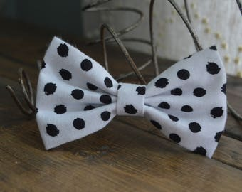 White Soft Fleece Hair Bow with Black Spots