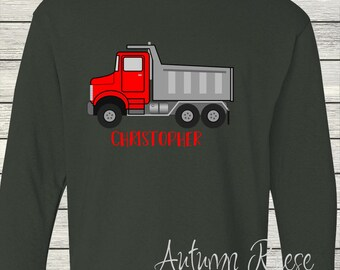 Boys Dump Truck Monogrammed Personalized Customized Birthday Shirt