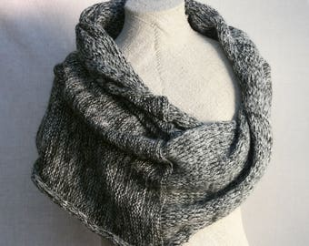 Chunky knit wrap shawl / Knitted christmas gift / Bridesmaid shawl / Mohair shoulder warmer / Knit oversized scarf - Black and white
