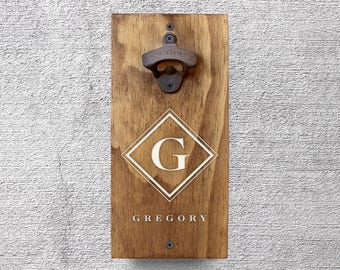 Personalized Beer Bottle Opener, Wall Mount Bottle Opener, Wood Beer Opener, Beer Lover Gift, Christmas Gifts, Beer Gifts for Men GA8012