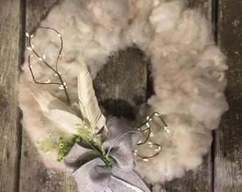 wool wreath, alpaca wool wreath, winter wreath, rustic wreath, natural wreath, all year round wreath, neutral wreath