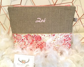 Personalized toiletry bag in linen and Liberty of London Adelajda coral