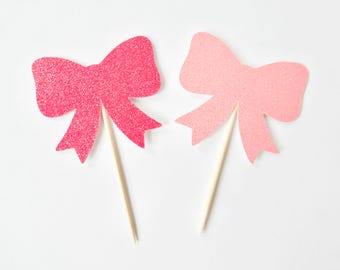 Bow Cupcake Toppers - Set of 12