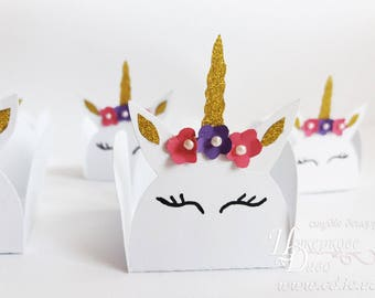 Set of 10 candy box Unicorn-party gift box-Baby Shower Decoration-Baby Girl-Small Candy Cups-Unicorn Birthday Party Table Decor Gold Unicorn