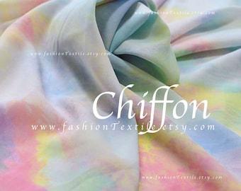 Colorful Pastel Rainbow Fabric Printed Chiffon by the yard